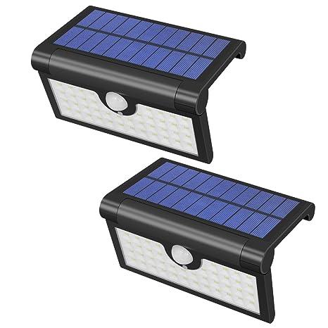 Yasolote 2 PACK Lámpara Solar 42 LED 450 Lúmenes Focos Solares con Sensor de Movimiento,