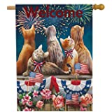 Selmad Welcome July 4th Patriotic Cat House Flag Double Sided, Firework Flower Quote Burlap Garden Yard Decoration, Holiday R