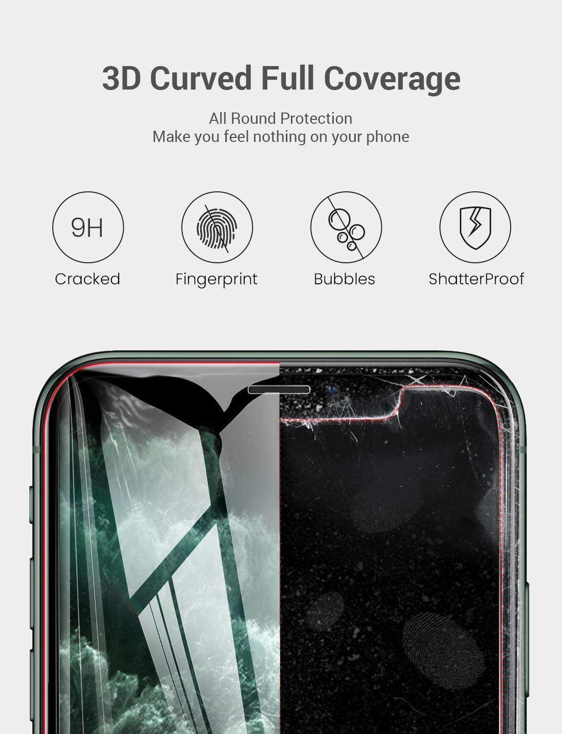 iPhone XR Tempered Glass Screen Protector Full Coverage Anti-Shatter Screen Protector Compatible with iPhone 11 /& iPhone XR 3 Packs AINOPE Case Friendly for Apple 6.1 Install Frame, Clear