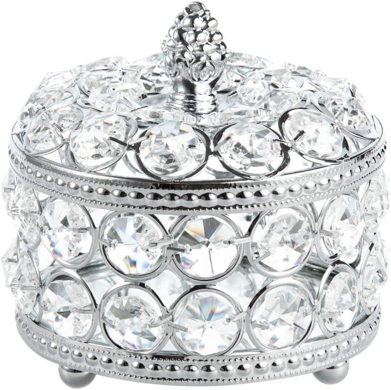 Feyarl Clear Crystal Jewelry Trinket Box Organizer Earrings Rings Treasure Storage Keepsake with Glass Mirror Surface Inside for Dresser Room Deco Valentine Christmas Birthday Gift (Silver)