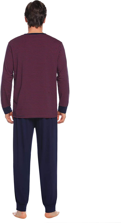 Aibrou Mens Cotton Striped Pajamas Set Long Sleeve Shirt and Pants Pjs Sleepwear Lounge Set