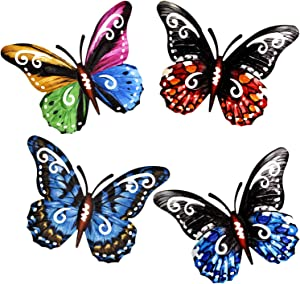4 Pack 3D Metal Butterfly Decor, Inspirational Wall Decor Sculpture Hanging Indoor Outdoor for Home, Bedroom, Living Room, Office, Garden (6.5 inch* 5 inch)