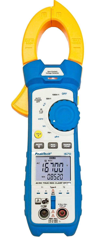 Pince de Mesure /Éclairage LED PeakTech 1670 Mesures de Courant Voltm/ètre 50.000 Counts Pince Amperm/ètrique RMS avec 4.0 Bluetooth /& App 1000A AC//DC Amp/èrem/ètre Multim/ètre T/ÜV//GS