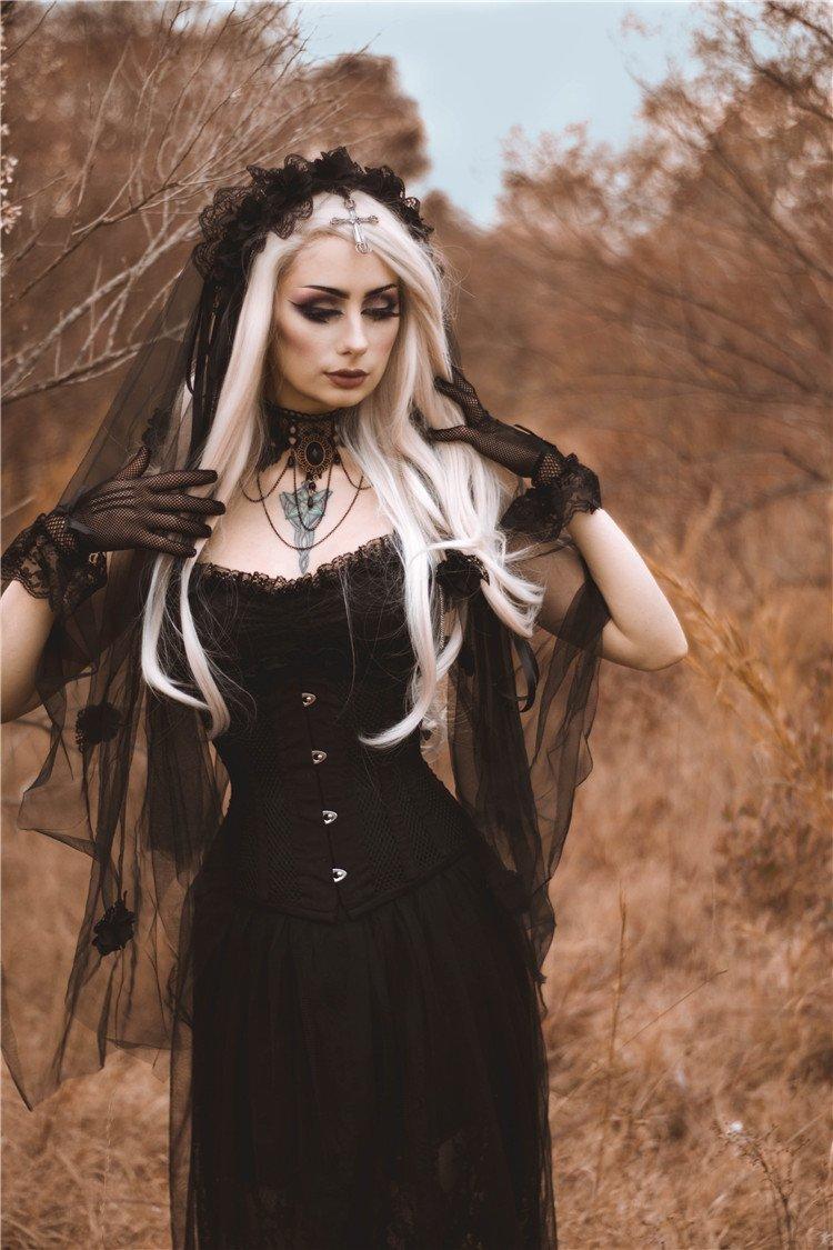 AHW004 Gothic bride cross veil by DARK IN LOVE (Image #3)