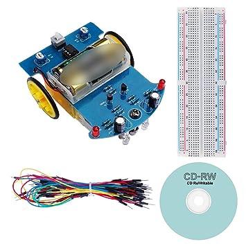 Circuitos digitales Robot Smart Car DIY electrónica Kit de soldadura (reducción Motor, función de seguimiento) [batería no incluidas.