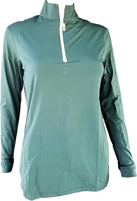 Bone//Gold, Large Tailored Sportsman Ladies Icefil Zip Top Sun Shirt