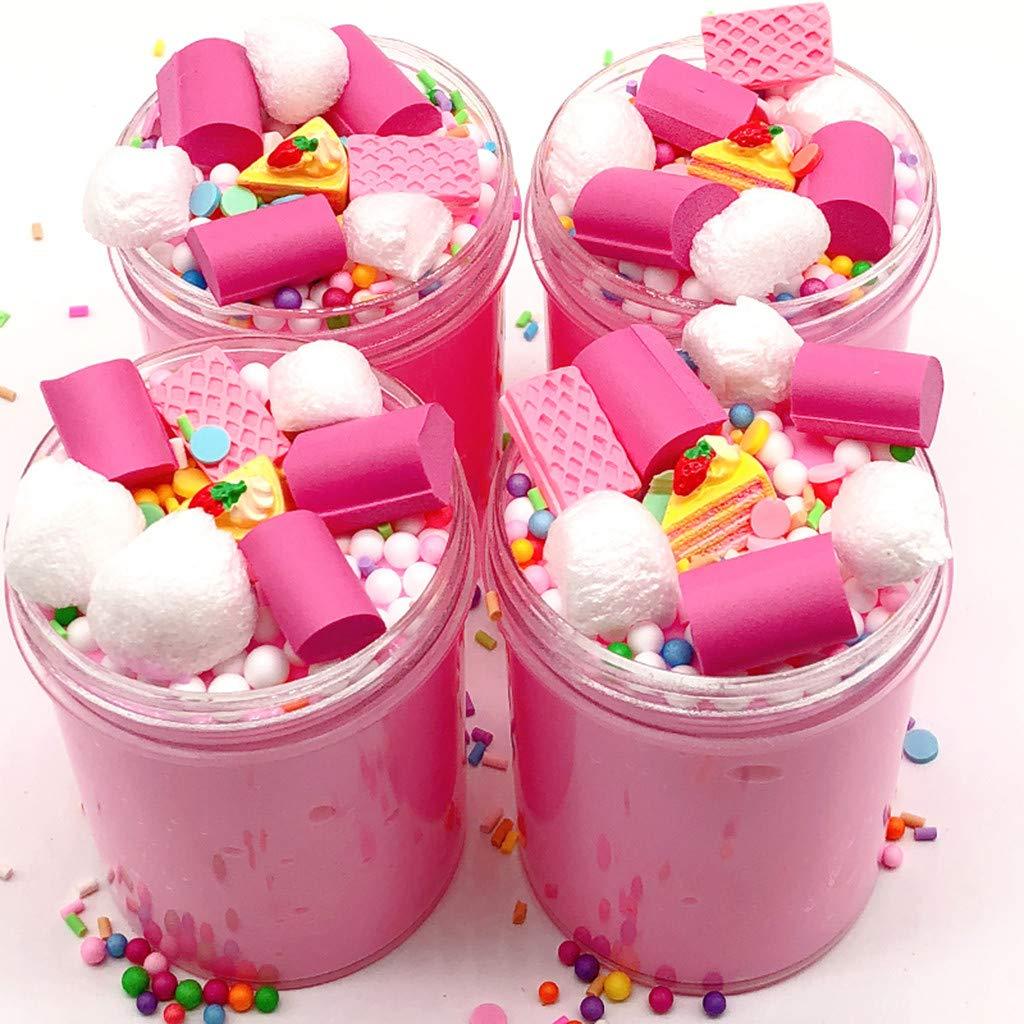 Bescita DIY Fluffy Slime Schlamm Spielzeug, Bunter Cloud Cake Milk Puff Putty Duft Zuckerwatte-Schlamm Squishy Parfü mierte Druck Scherzt Lehm-Spielzeug (100ML)