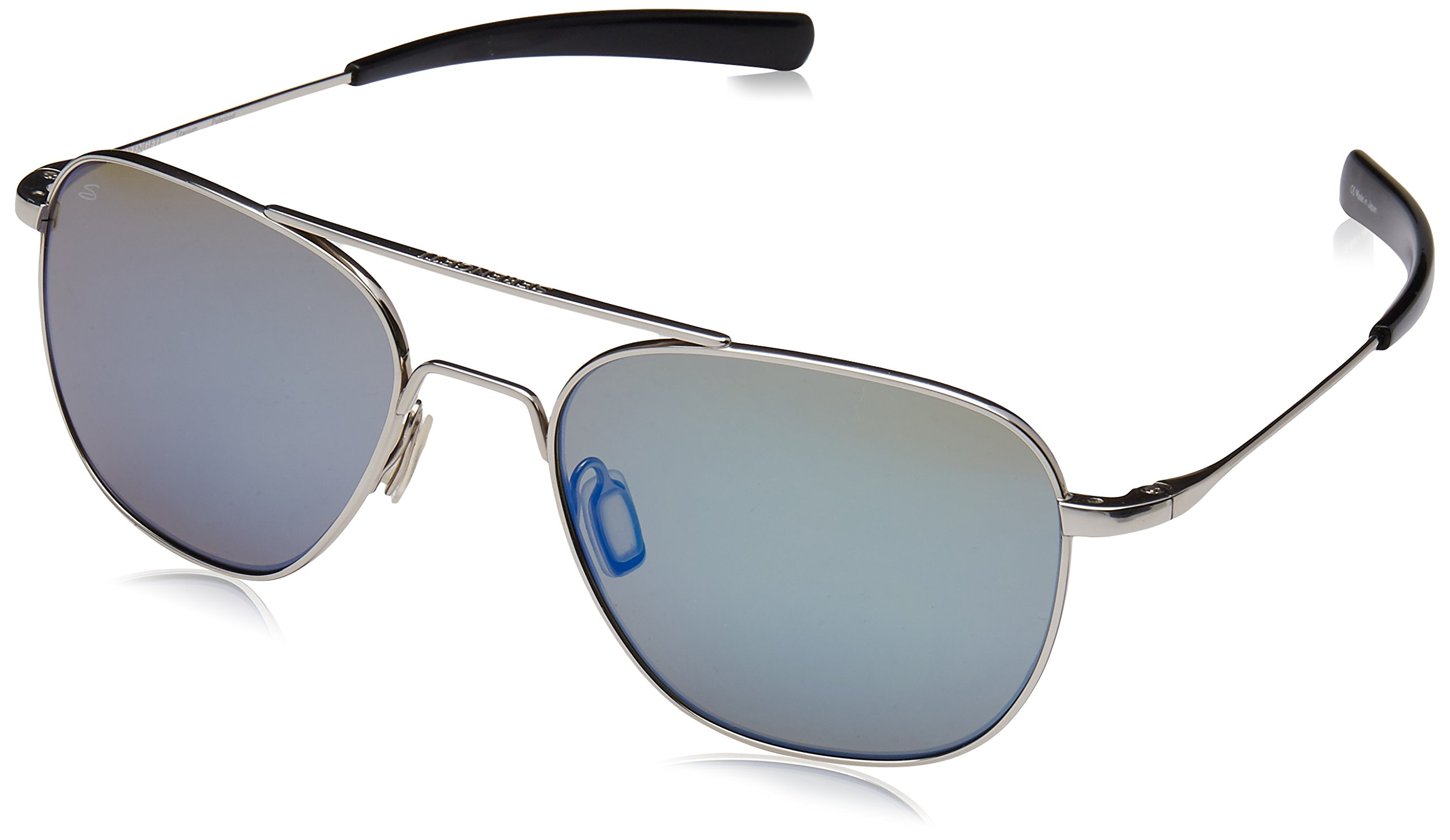 Serengeti 8282 Sortie Sunglass, Shiny Silver Frame, Polarized 555nm Blue Lens by Serengeti