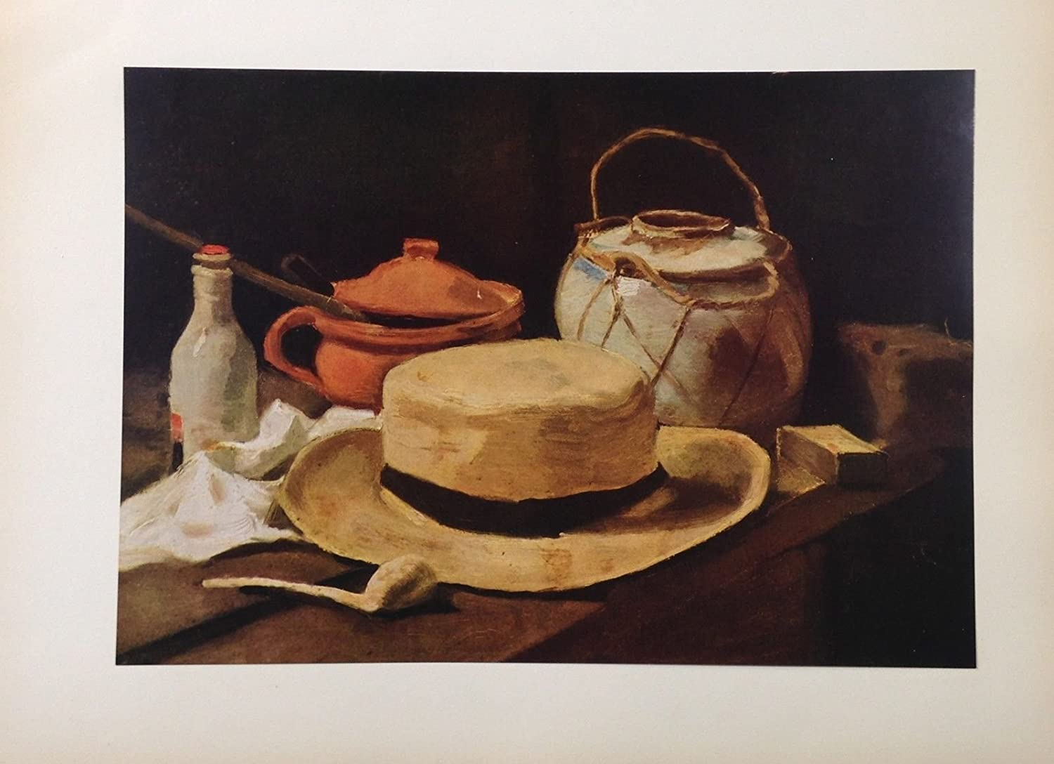 "1950 Vintage Full Color Art Plate /""STILL LIFE HAT /& PIPE/"" by VAN GOGH Lithograph"