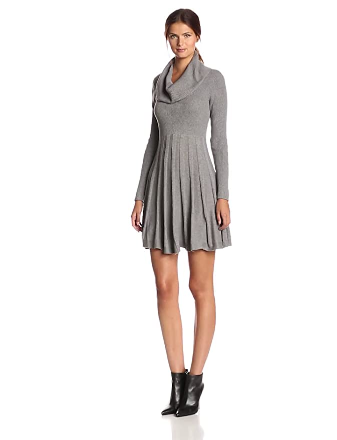 a98eb12e5df Calvin Klein Women s Long-Sleeve Cowl-Neck Fit   Flare Sweater Dress at  Amazon Women s Clothing store