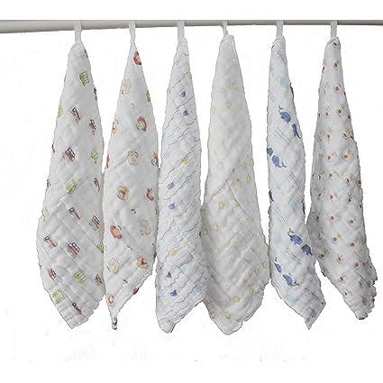 Lucear 6 pack Bebé Toallita Recién Nacidos Muselina Toalla Facial Toallitas de 100% Algodón para