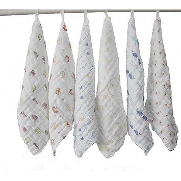 lucear set da 6 asciugamani per beb neonato bagnetto cambio pulizia 100 cotone mussolino come