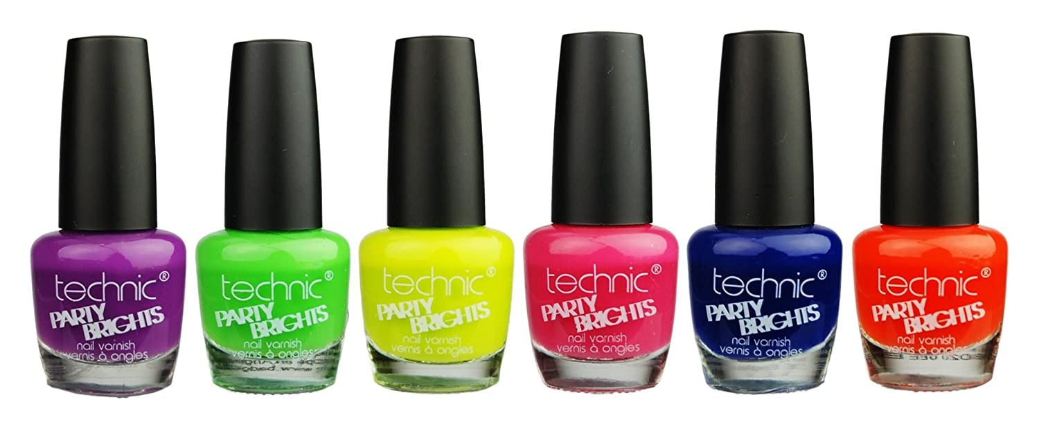 Technic Party Brights Neon Nail Varnish Set of Six, 6 Fantastic ...