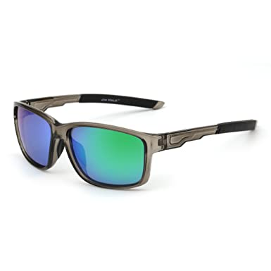 5f5972ac330 Polarized Sports Sunglasses Mirror Wrap Around Driving Riding Fishing Men  Women (Grey Green)  Amazon.co.uk  Clothing