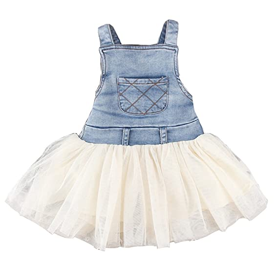 bdcadaca42e Image Unavailable. Image not available for. Color  Kids Baby Girls Clothes  Summers Denim Tulle Dress   Overalls Outfits