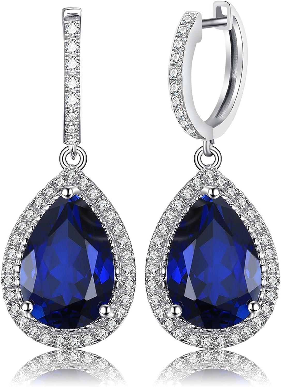 jewelrypalace Luxus Pera Interfaz 12.4ct geschaffenes Rojo Rubí Zafiro esmeralda baumeln Solid Pendientes Plata de ley 925