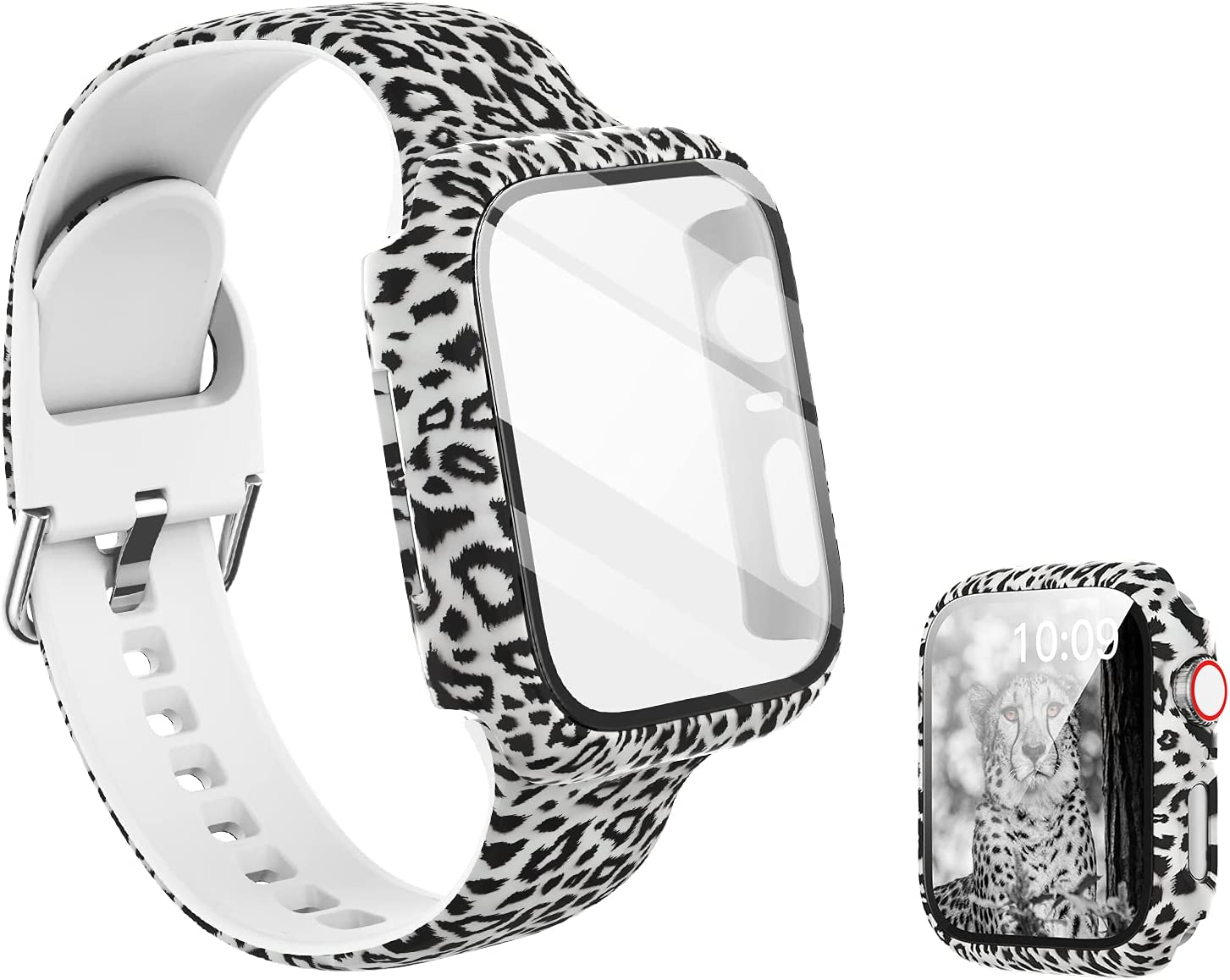 Compatible with Leopard Apple Watch Band 44mm with Screen Protector Case, Women Girl Pattern Printed Glass Screen Protector and Silicon Wristband Strap for iwatch Series 6 5 4 Se Accessories