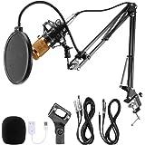 Voilamart - Juego de micrófono de condensador BM-800 con micrófono de grabación ajustable, soporte de brazo de tijera con suspensión y soporte de choque y kit de abrazadera de montaje para grabación de transmisión en estudio