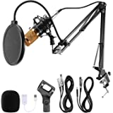 Voilamart Condenser Microphone Set BM-800 with Adjustable Recording Microphone Suspension Scissor Arm Stand with Shock…