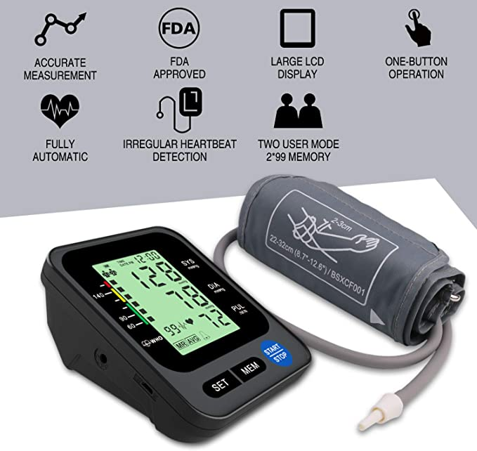 Upper Arm Blood Pressure Monitor, Clinically-Accurate BP Monitor, Automatic Digital Blood Pressure Monitor with Large Backlit Display Screen for Home ...