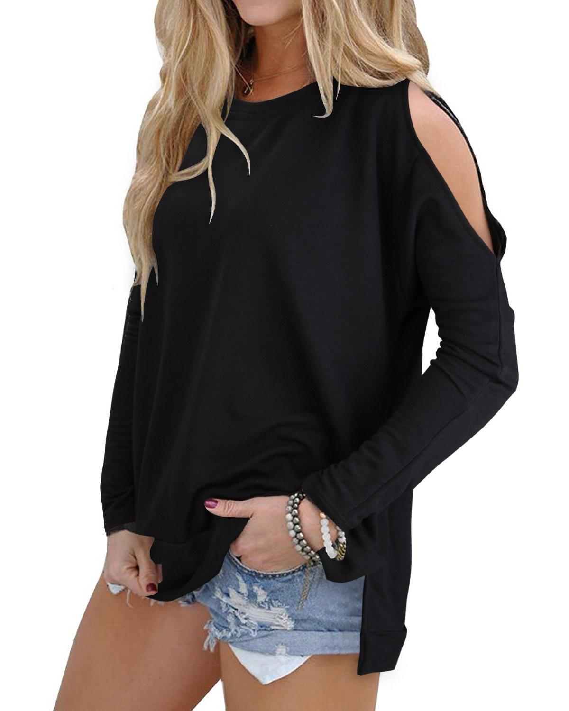 OUGES Women's Cutout Cold Shoulder Long Sleeve T-Shirt Tunic Top (Black,M)