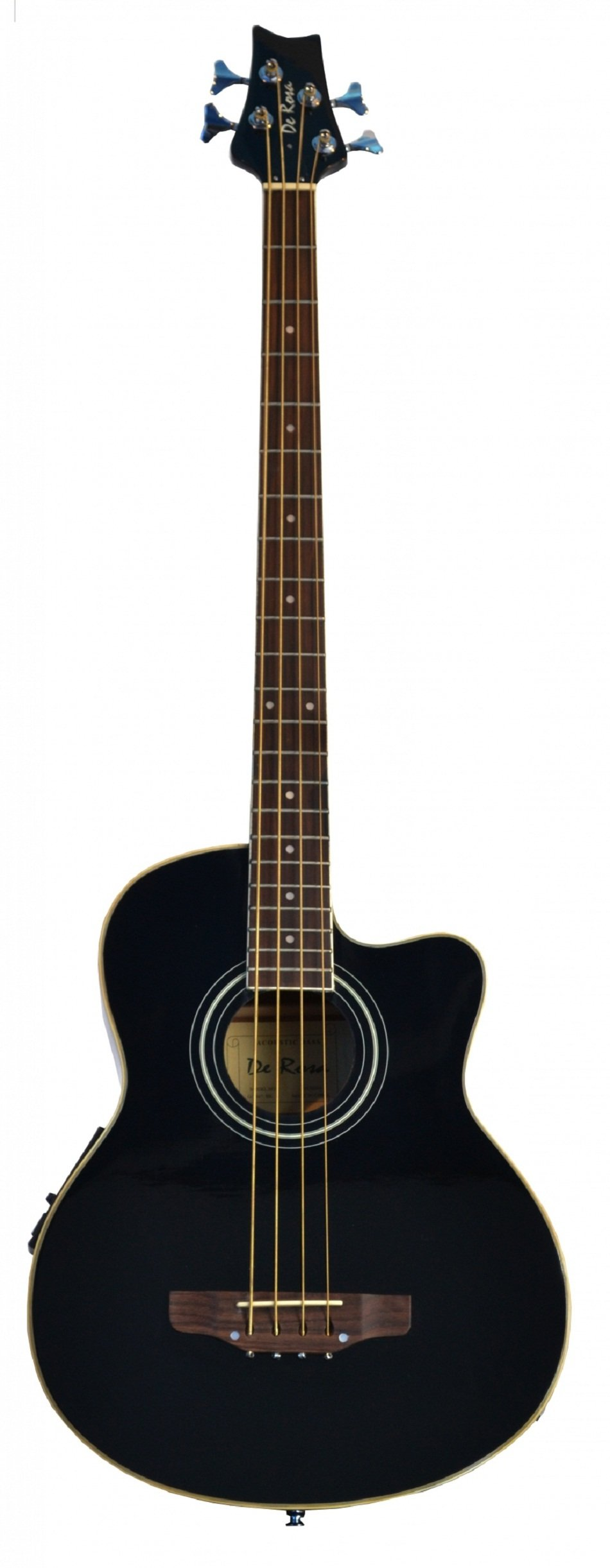 Cutaway Black Acoustic Electric 4 String Bass with 4 EQ & DirectlyCheap(TM) Translucent Blue Medium Guitar Pick by Directly Cheap