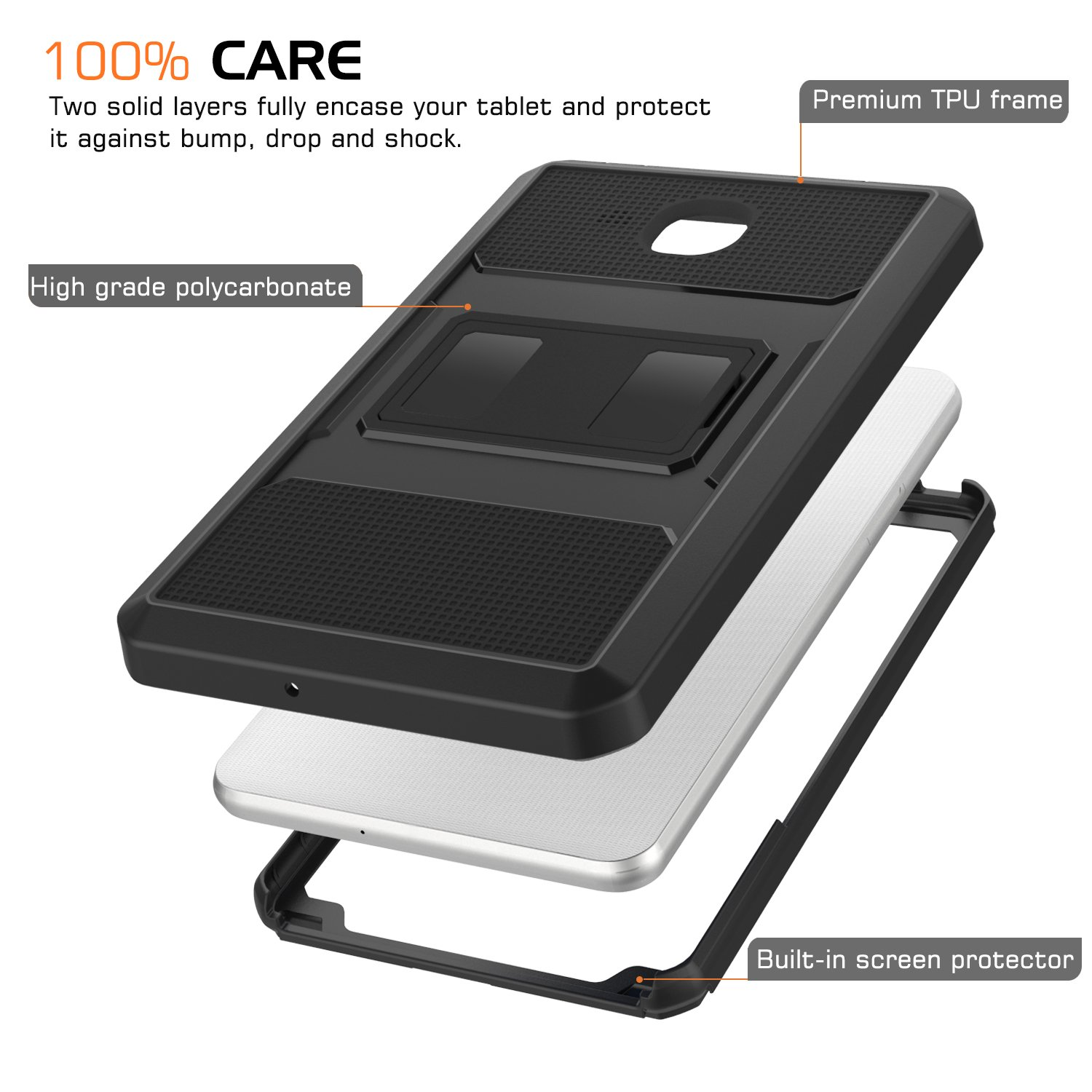 Moko Samsung Galaxy Tab A 70 Case Heavy Duty Full Body Rugged 2016 T285 Cover With Built In Screen Protector For Inch Tablet