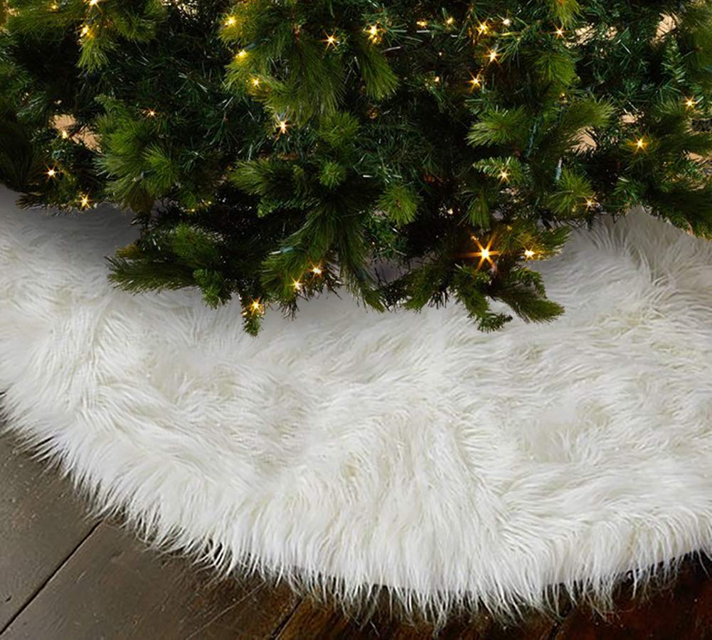 OLYPHAN Christmas Tree Skirt - Large Snow White Luxury Faux Fur - 48 inches (4ft) / 36 inch (3 ft) / 30 inch Round for Under Xmas Tree Decorations (48 inches (4ft))