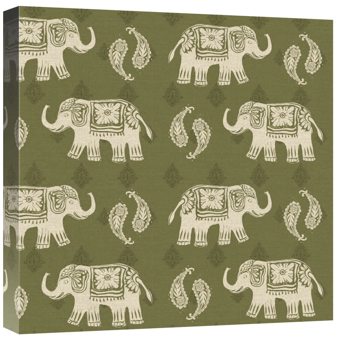 Global GalleryDaphne Brissonnet Woodcut Elephant Patterns Giclee Stretched Canvas Artwork 18 x 18