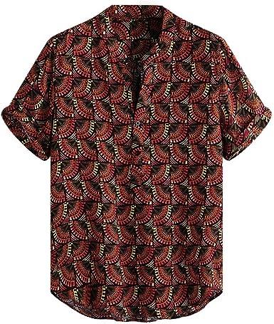CAOCAO - Camisa roja de Manga Corta con Cuello Redondo, Estampado étnico, Vintage, para Hombre Camisas cómodas y Sueltas: Amazon.es: Ropa y accesorios