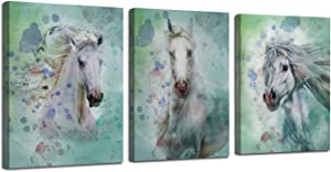 Arjun Canvas Wall Art White Horses Watercolor Painting Prints Modern Pictures, Animals 12