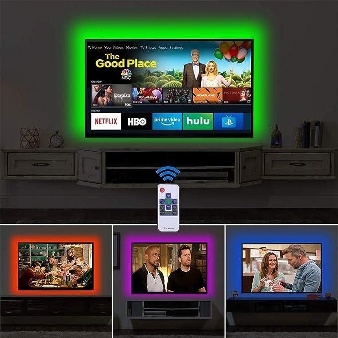 Televisor LED Back Ligh HDTV Bias Fondo tira de luz LED USB Power TV Pared Luz de fondo accesorios con RF – Mando a distancia: Amazon.es: Iluminación