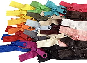 20pcs Mixed Colors Ykk Number 4.5 Coil Handbag Zipper or Purse Zippers Long Pull Made in USA Pack Vinyl Bag, 10 inches