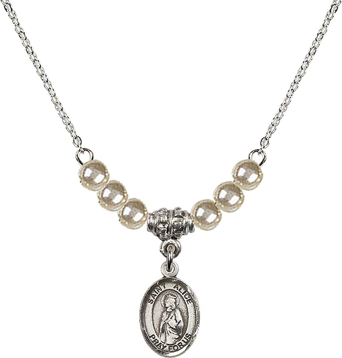 Bonyak Jewelry 18 Inch Rhodium Plated Necklace w// 4mm Faux-Pearl Beads and Saint Alice Charm