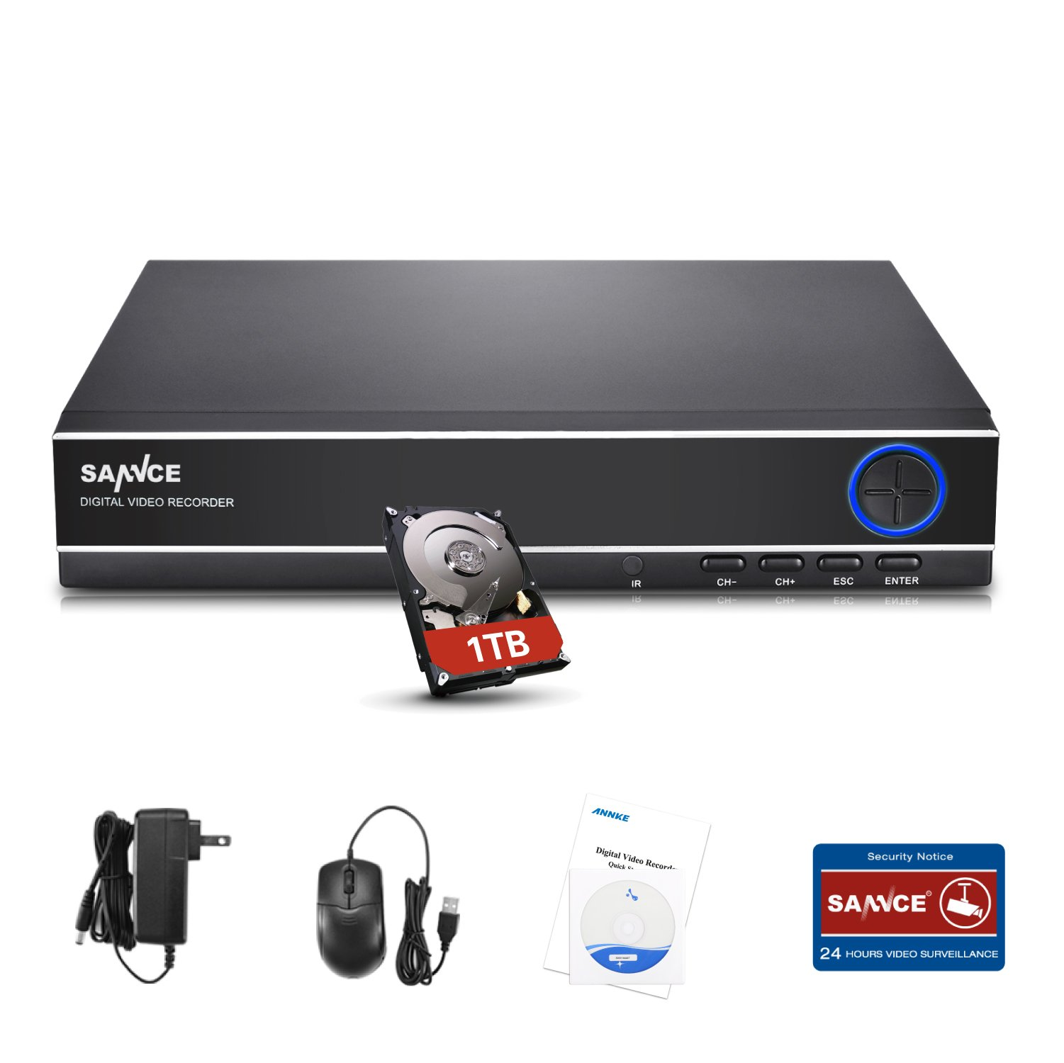 SANNCE Upgraded DVR Recorder 5-in-1 4 Channel 1080N Digital Video Recorder with 1TB Hard Drive, HDMI VGA Output, Phone Remote Access(Not TV Box Recorder)