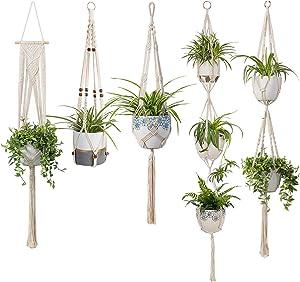 TIMEYARD Macrame Plant Hangers Set of 5 Indoor Wall Hanging Planter Basket Flower Pot Holder Boho Home Decor