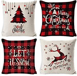 Tsingtop Christmas Pillow Covers 18 x 18 Inches for Winter Holiday Farmhouse Christmas Decor Pillow Covers Set of 4.