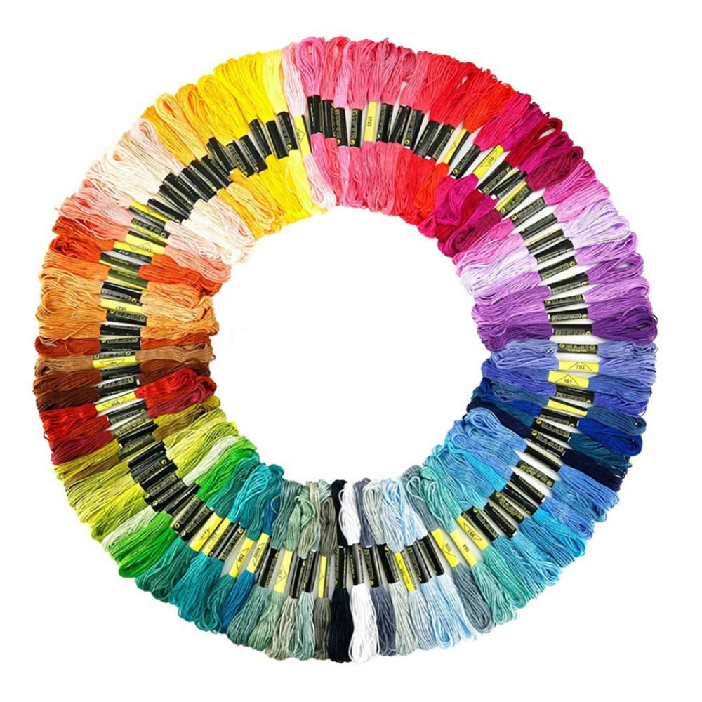 Embroidery Floss Rainbow Color 100 Skeins, Donesa Cross Stitch Threads Friendship Bracelet String Crafts Floss