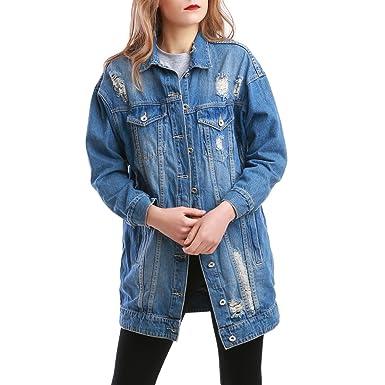 65c4dec5672a La Modeuse - Veste en Jean Bleu Destroy à Coupe Oversize Style Boyfriend   Amazon.fr  Vêtements et accessoires
