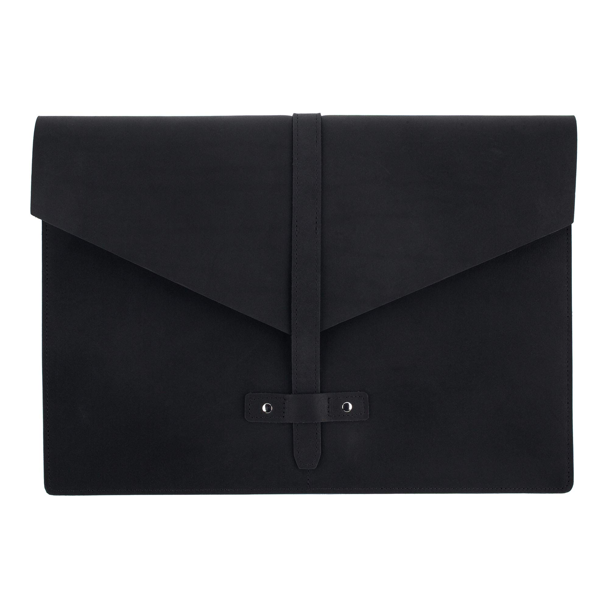 SLATE COLLECTION Belltown Small Laptop Sleeve, Full-Grain Leather (Midnight, fits 13'' Laptop)