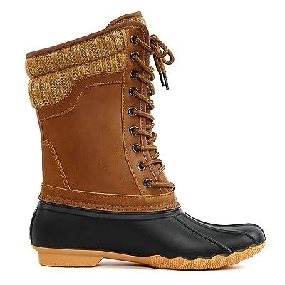 ShoBeautiful Women's Waterproof Duck Boots Rubber Two Tone Mix Media Skimmers Winter Rain Snow Mid Calf Boots | Snow Boots