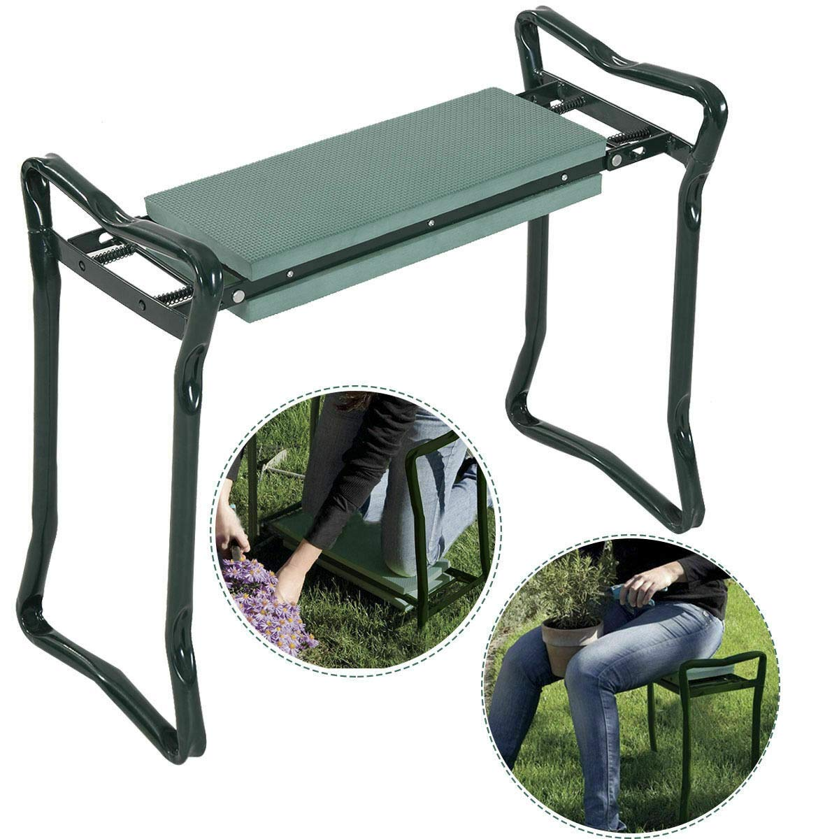 WealthyPlaza Foldable Garden Kneeler & Cushion Seat Knee Pad Seat Bench Stool Folding Sturdy Gardener Kneeling Pad for Convenient Resting – Flip up Side Down 2-in-1 Design by WealthyPlaza (Image #1)