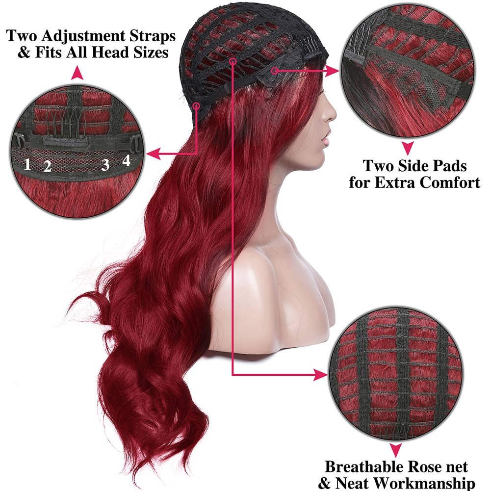 Armmu 28'' Red Ombre Long Body Wave Hair Full Wigs No Lace Wigs for Women 100% Synthetic Hair Burgundy Black Roots Wig (OTBUG) by Armmu (Image #5)