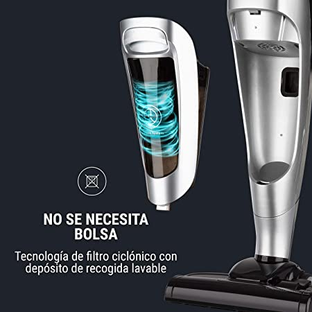 Oneconcept CleanTower aspiradora - 800 W, 160 W de Potencia en el Cepillo del Suelo, Tecnología Cyclonic Filter, Filtro HEPA Lavable, Cable extralargo Que le da Movilidad, Plateado: Amazon.es: Hogar