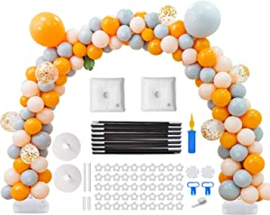 Balloon Arch Kit, 9FT Tall &10Ft Wide Adjustable Plastic Balloon Column Stands Set Table balloon arch kit with base High Strength Glass Fiber Pole for Party Wedding Birthday Baby Shower Xmas Festival Decorations