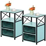 VECELO Modern Night Stand, End Side Table with Storage Space and Door, Nightstands with Flip Drawers for Living Room,Bedroom,