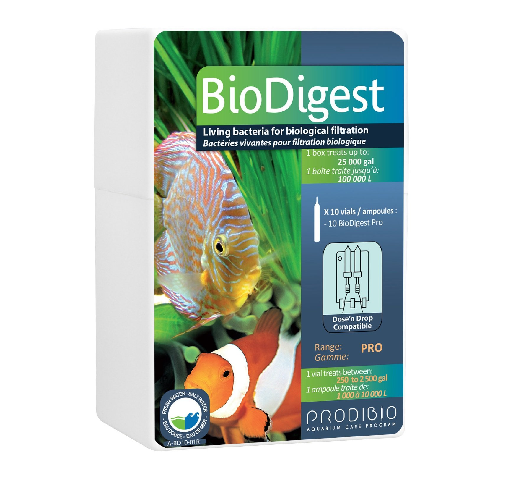 Prodibio Bio Digest Pro, Nitrifying Bacteria, Fresh and Salt Water, 10/10 mL Pro vials, 250 gal and up by Prodibio
