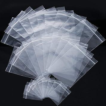 Bolsa con Cierre Bolsa Resellable de Plástico Bolsa de Polipropileno Transparente Auto Cierre de Tamaños Variados, 2 x 2,8 Pulgadas, 3,5 x 5 Pulgadas, ...