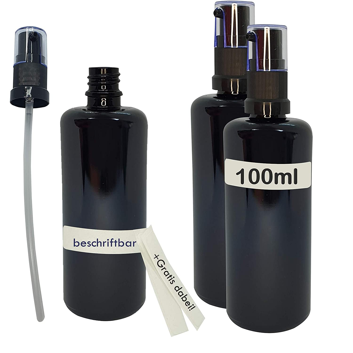 Naturellia 3 x 100 ml Purple Glass Empty Bottle Miron Glass Pharmacy Glass with Pump Attachment Purple Glass Pump Bottle Glass 3 x 100 ml 6 x Writeable Stickers for Organic Preservation