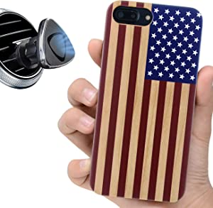 """iProductsUS Wood Phone Case Compatible with iPhone SE (2020), iPhone 8, 7, 6/6S and Magnetic Mount, American Flag Printed in USA, Built-in Metal Plate,TPU Bumper Protective Shockproof Cover (4.7"""")"""